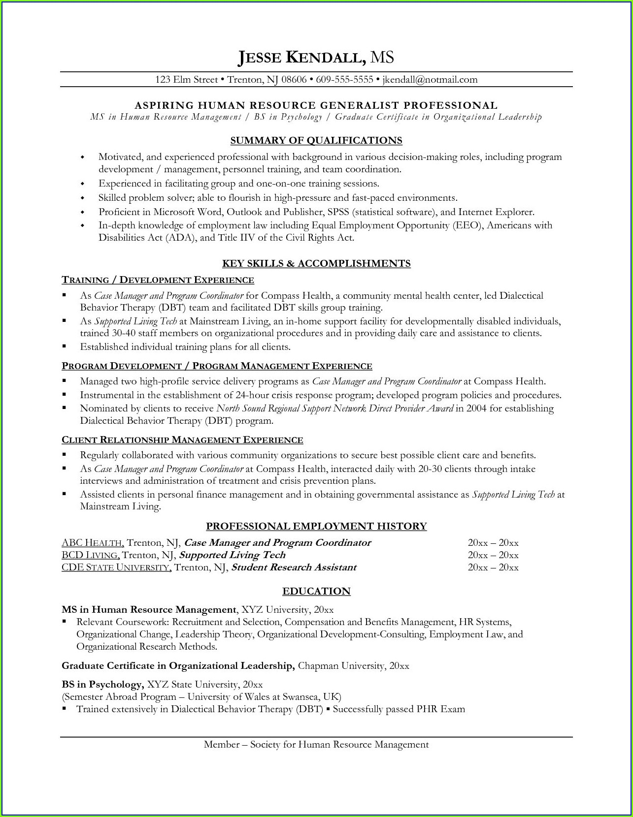 Free Core Functional Format Resume