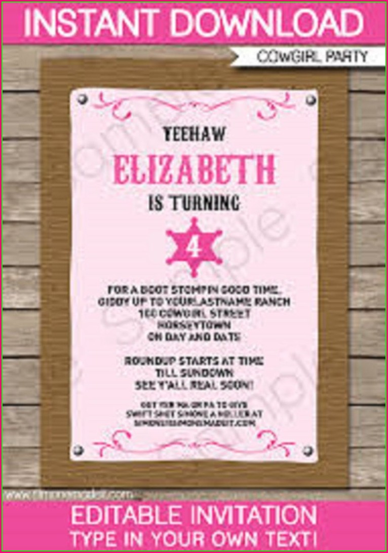 Free Cowgirl Birthday Invitation Templates