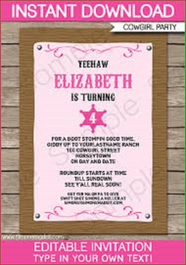 Free Cowgirl Birthday Invitation Templates
