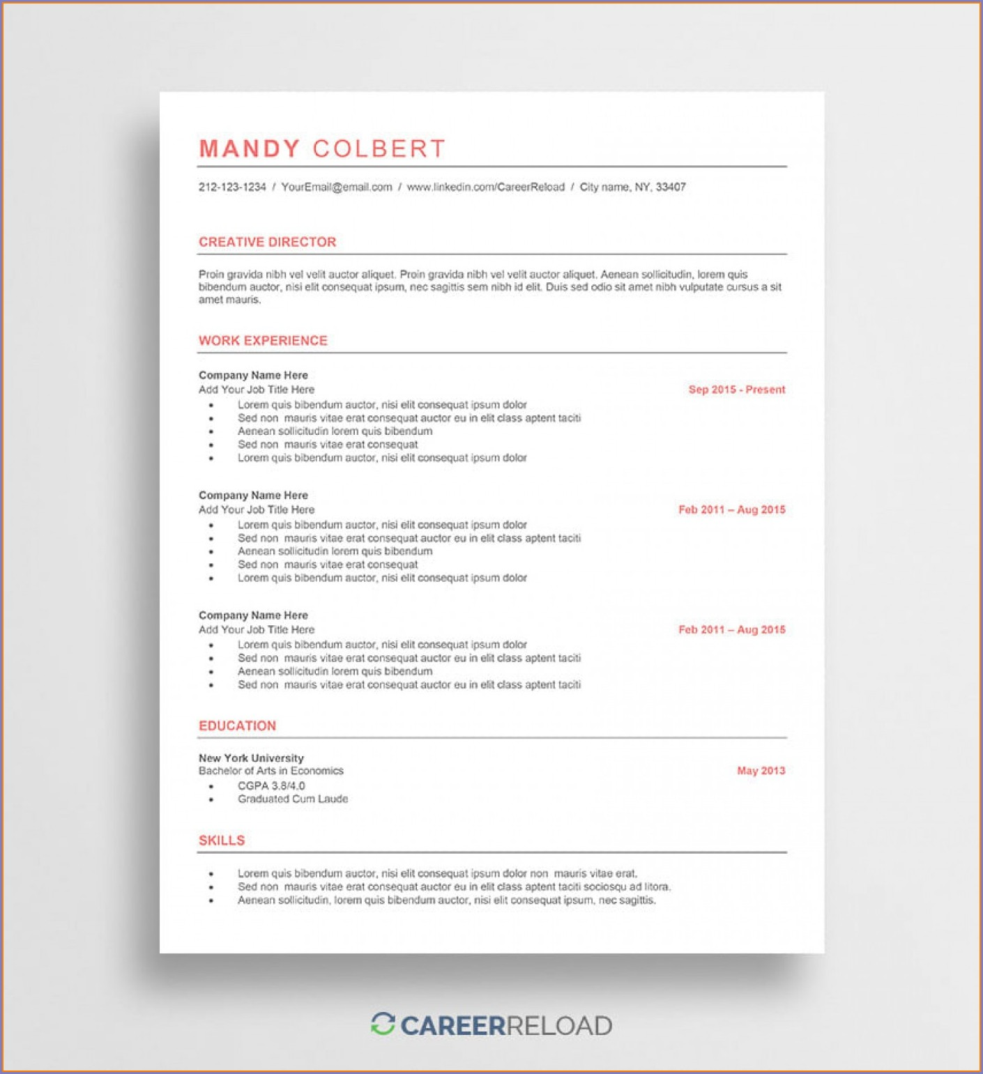 Free Creative Resume Templates Word Doc