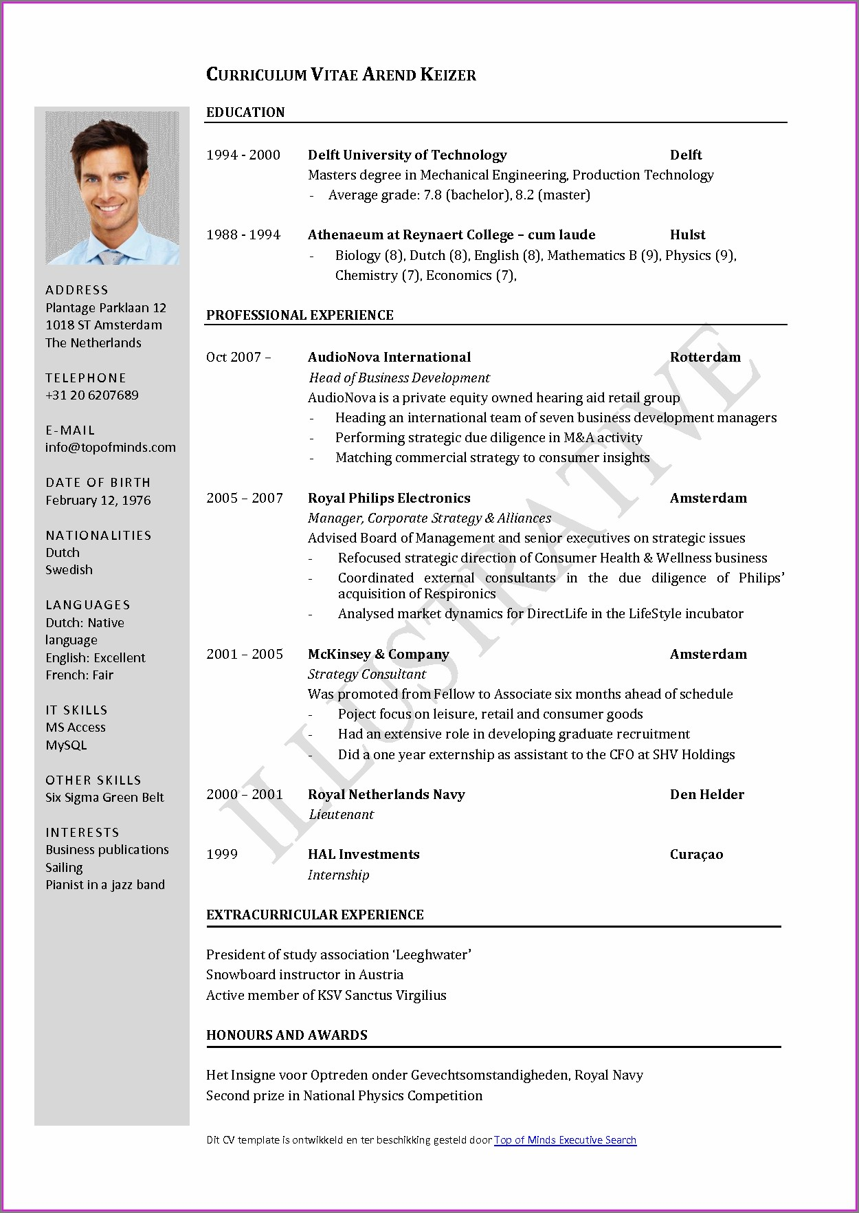 Free Curriculum Vitae Template For Teachers