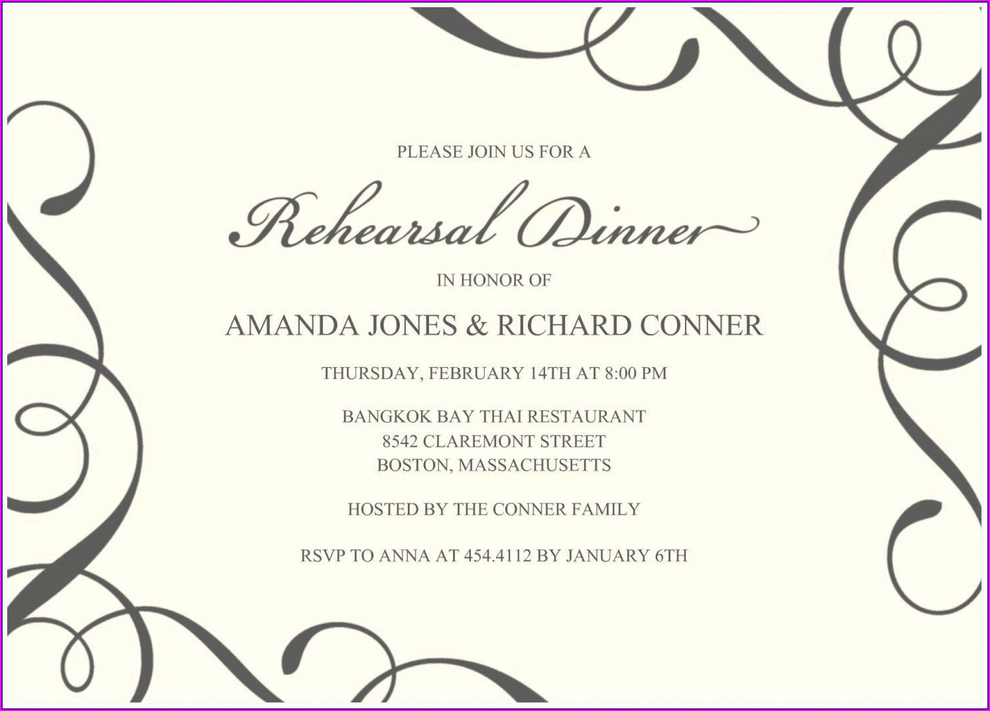 Free Dinner Invitation Template Word
