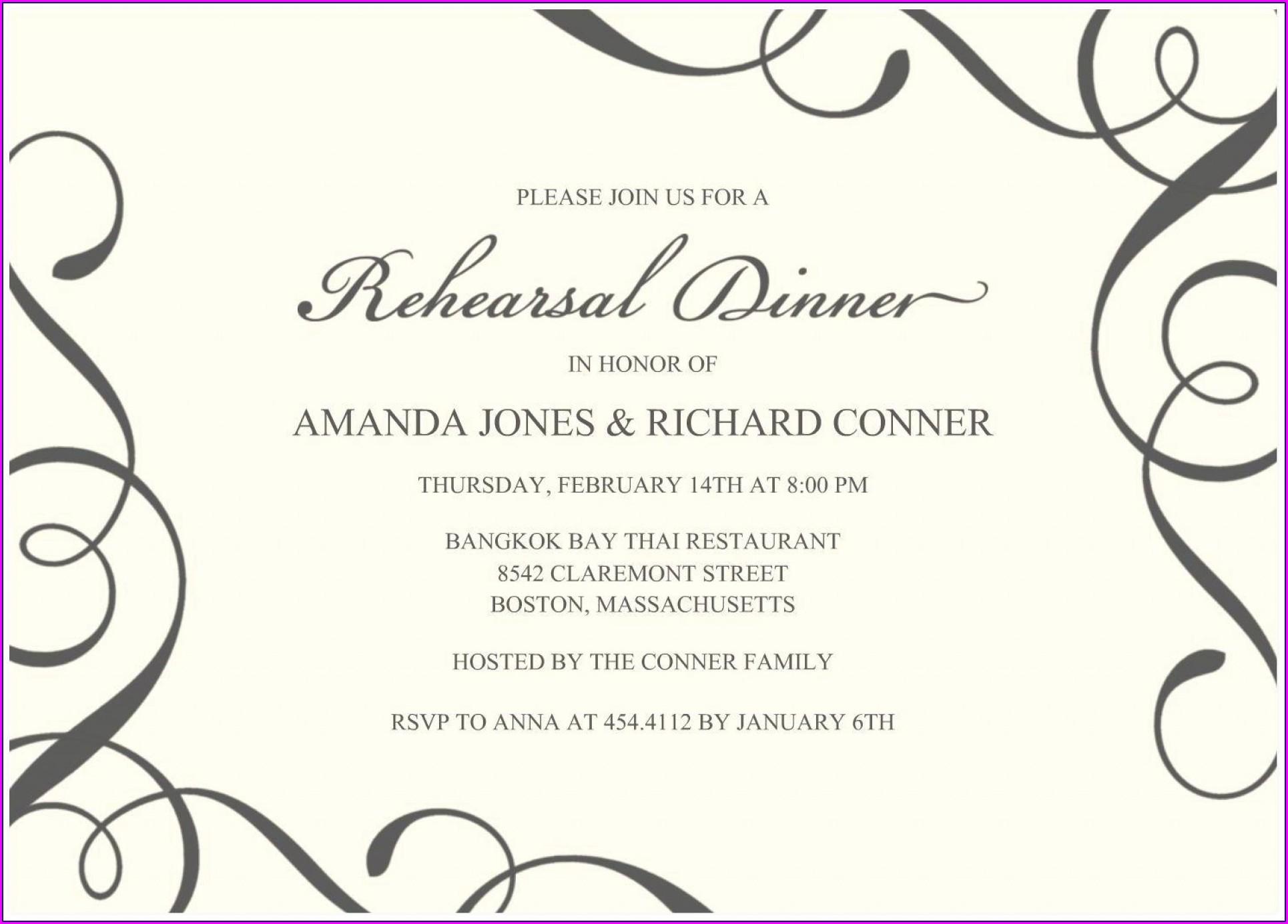 Free Dinner Invitation Template Word