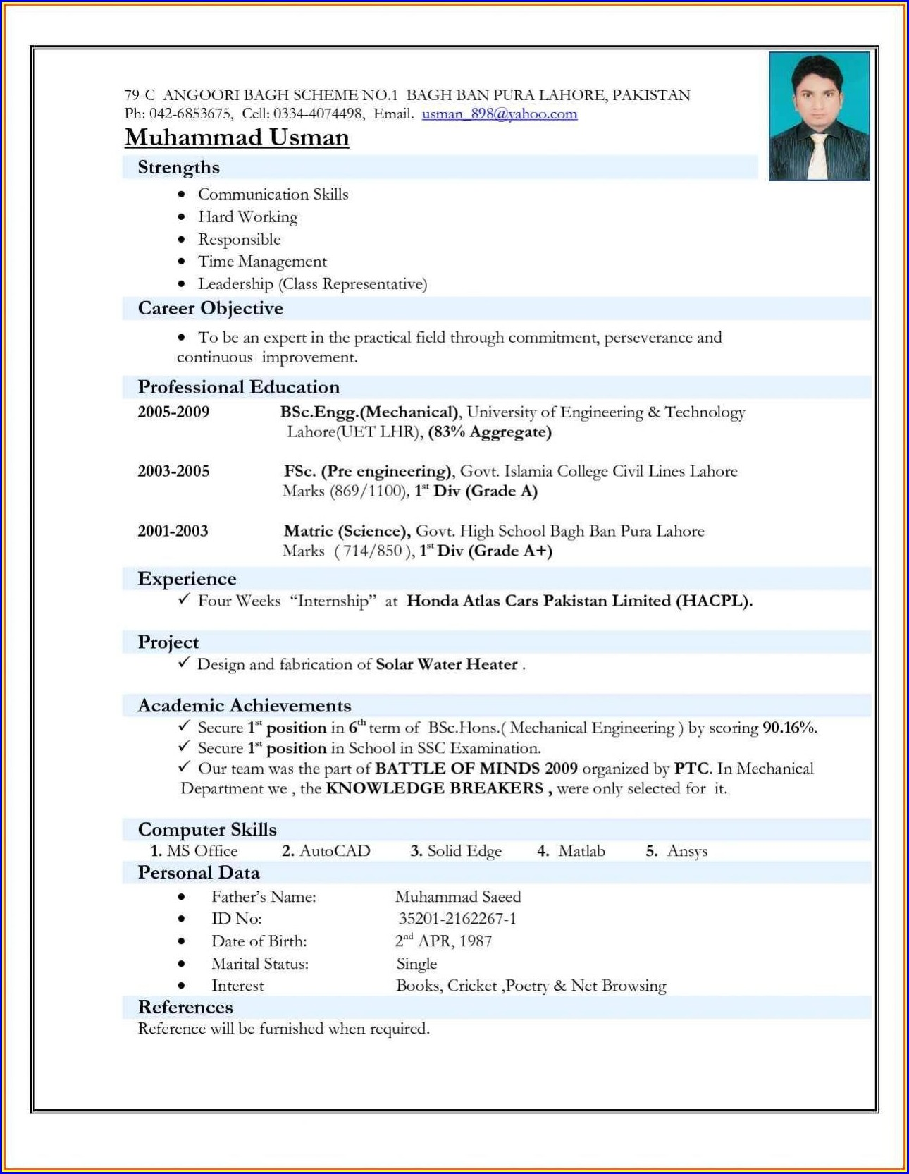 Free Download Cv Format For Teachers