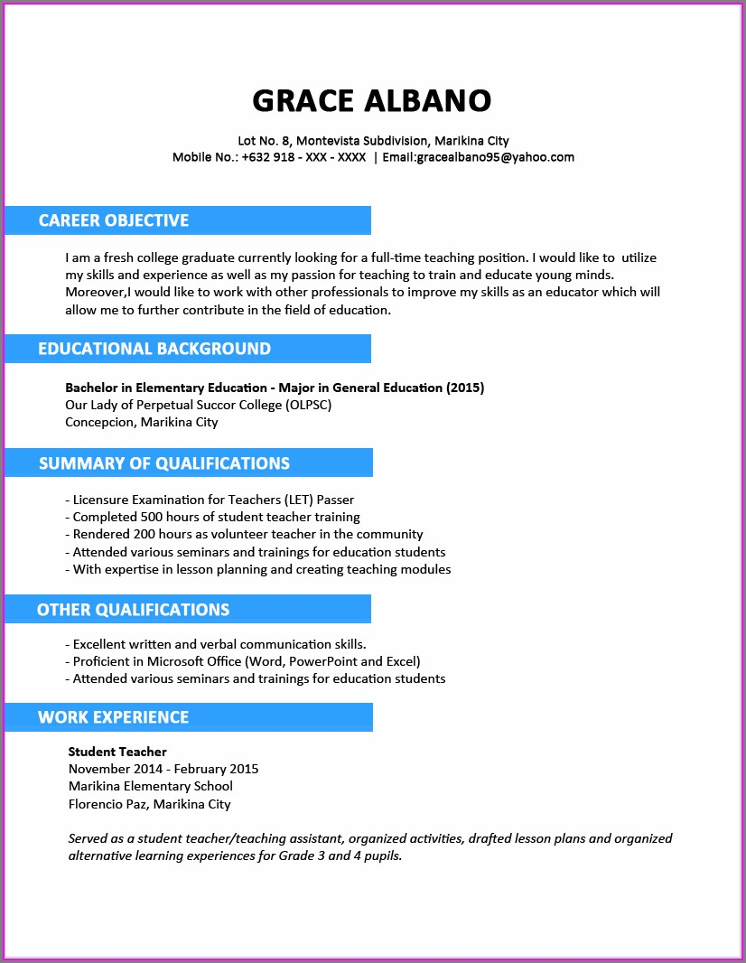 Free Download Resume Format For Nurses