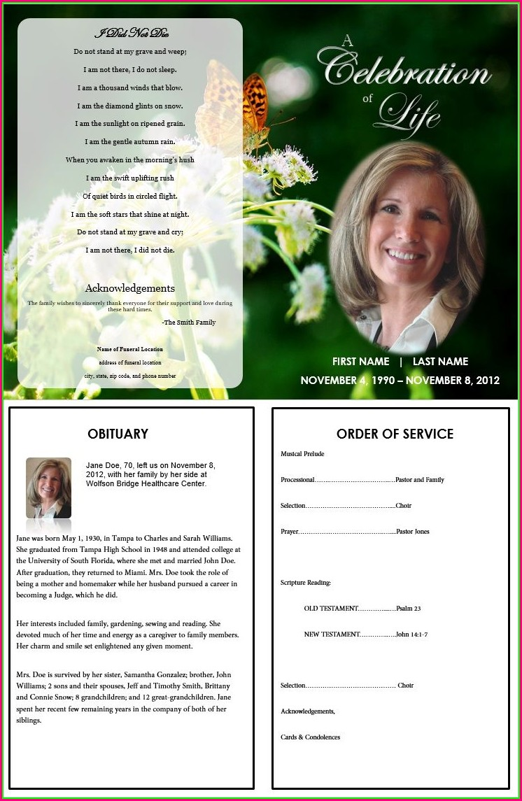Free Editable Funeral Program Template Word