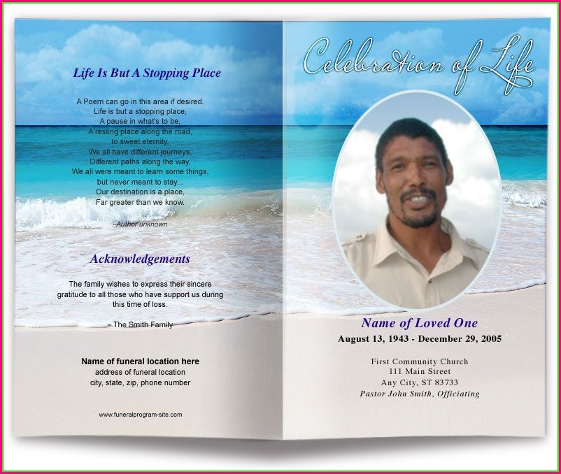 Free Editable Funeral Program Template