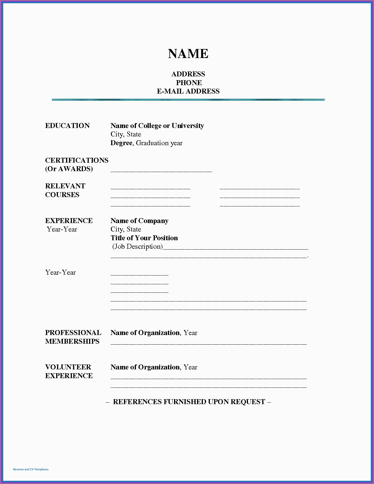 Free Fill In The Blank Resume