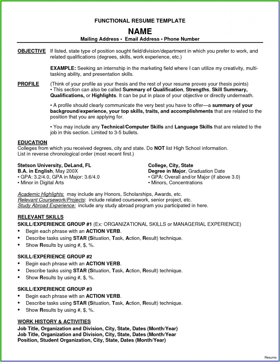 Free Functional Resume Examples