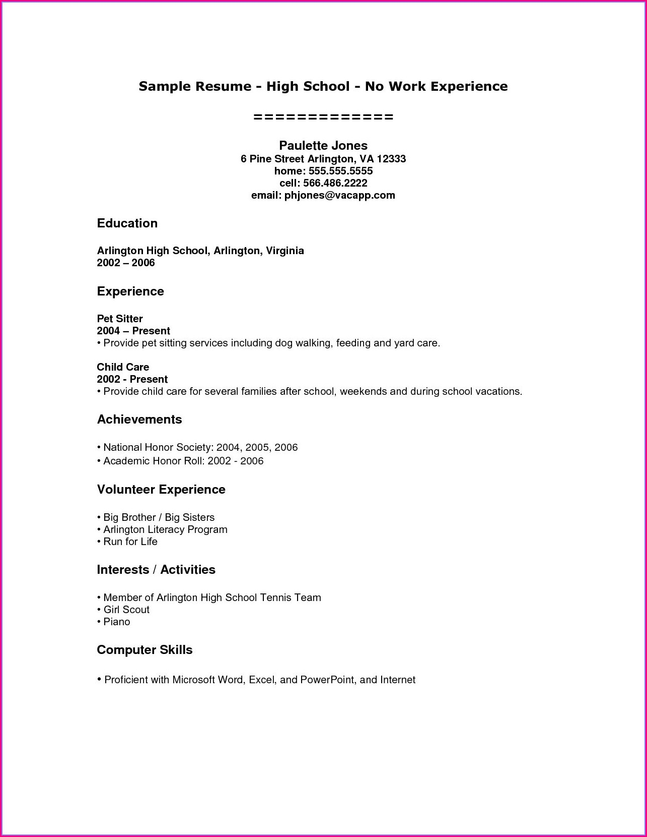 Free High School Student Resume Template
