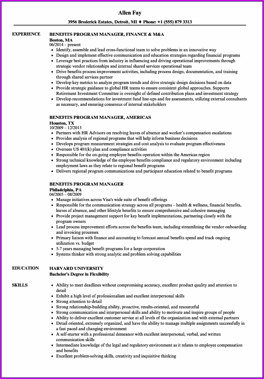 Free Hr Manager Resume Samples