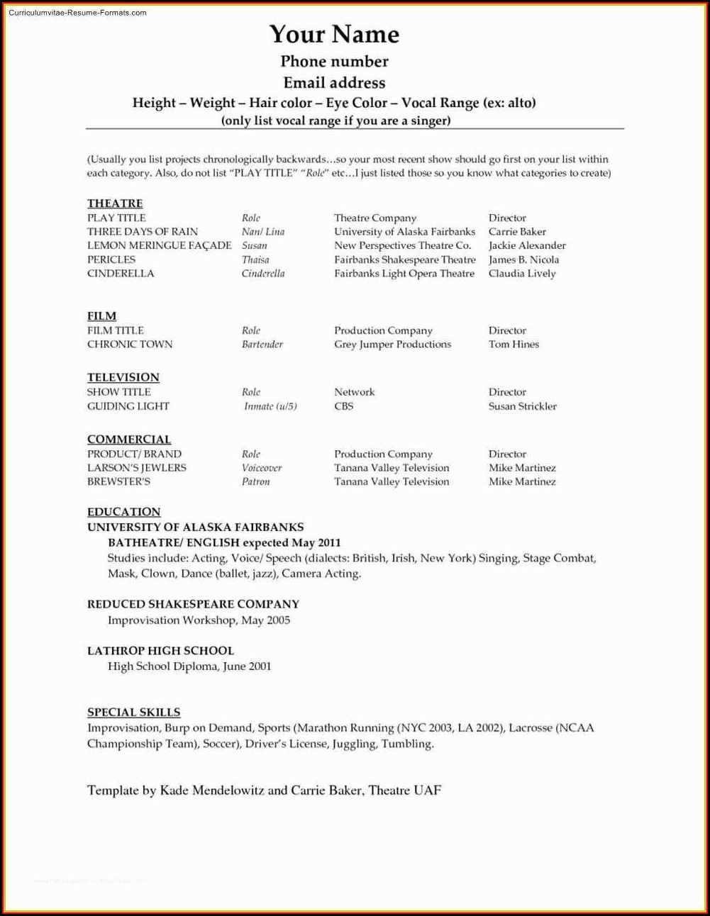 Free Job Resume Template For Microsoft Word
