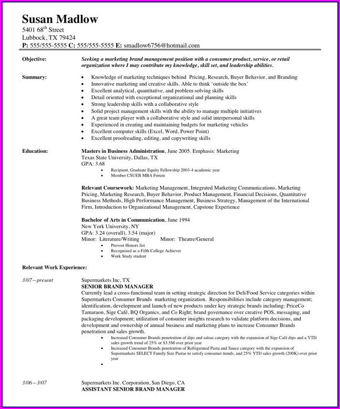 Free Manager Resume Samples