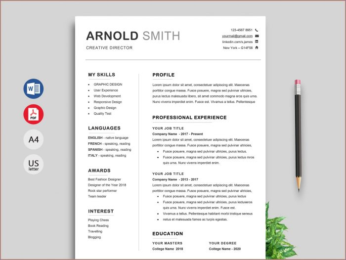 Free Microsoft Word Resume Template With Photo