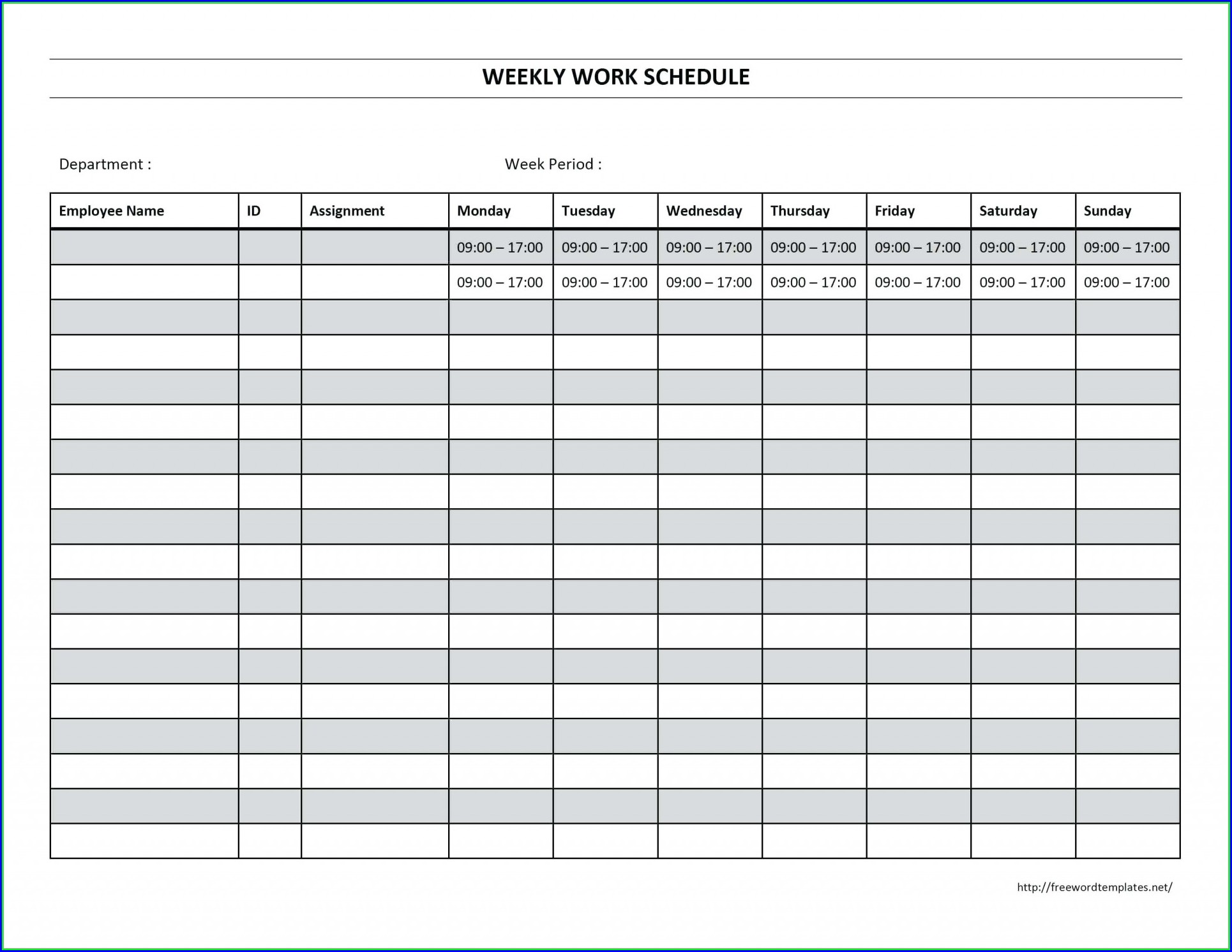 Free Monthly Employee Work Schedule Template Excel