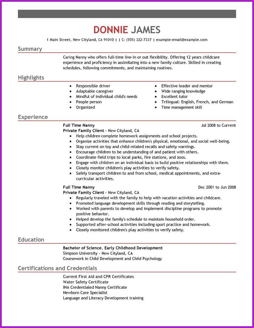 Free Nanny Resume Templates