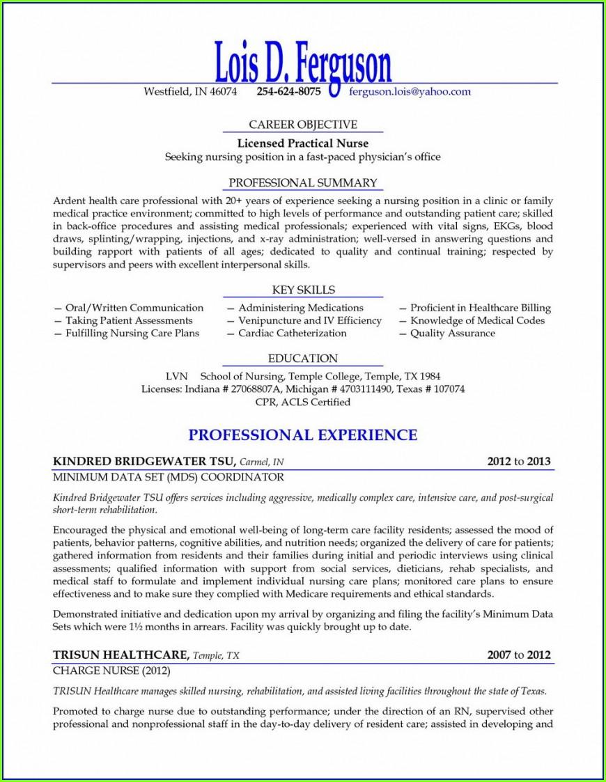 Free Nursing Resume Templates 2018