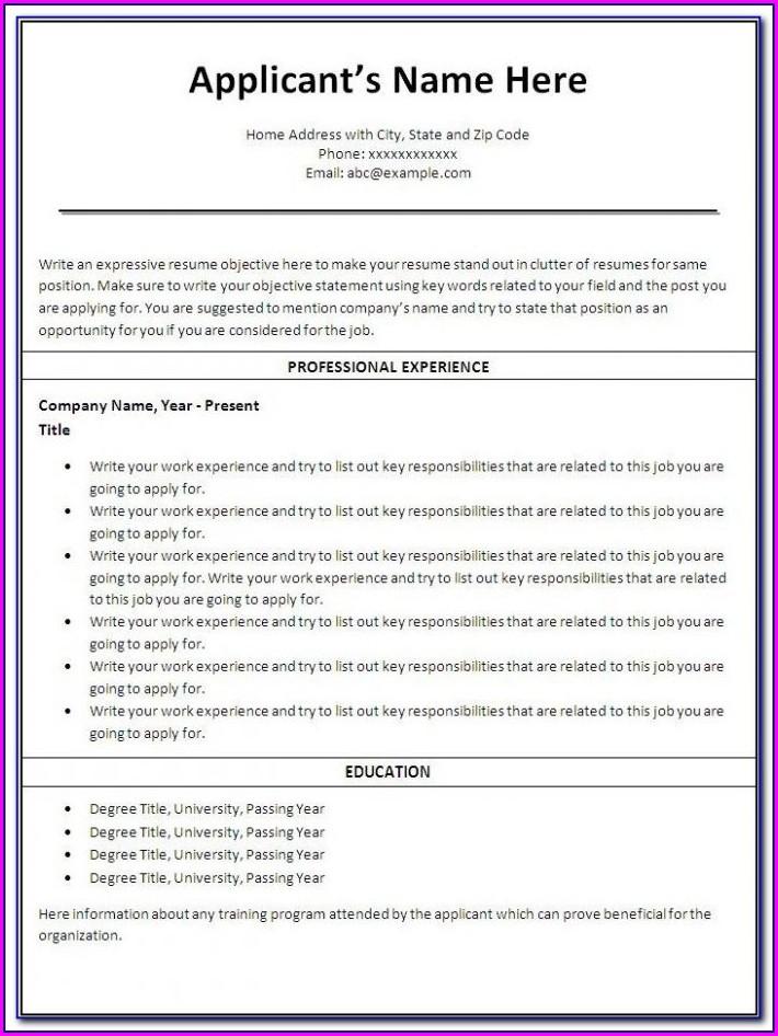 Free Online Printable Resume