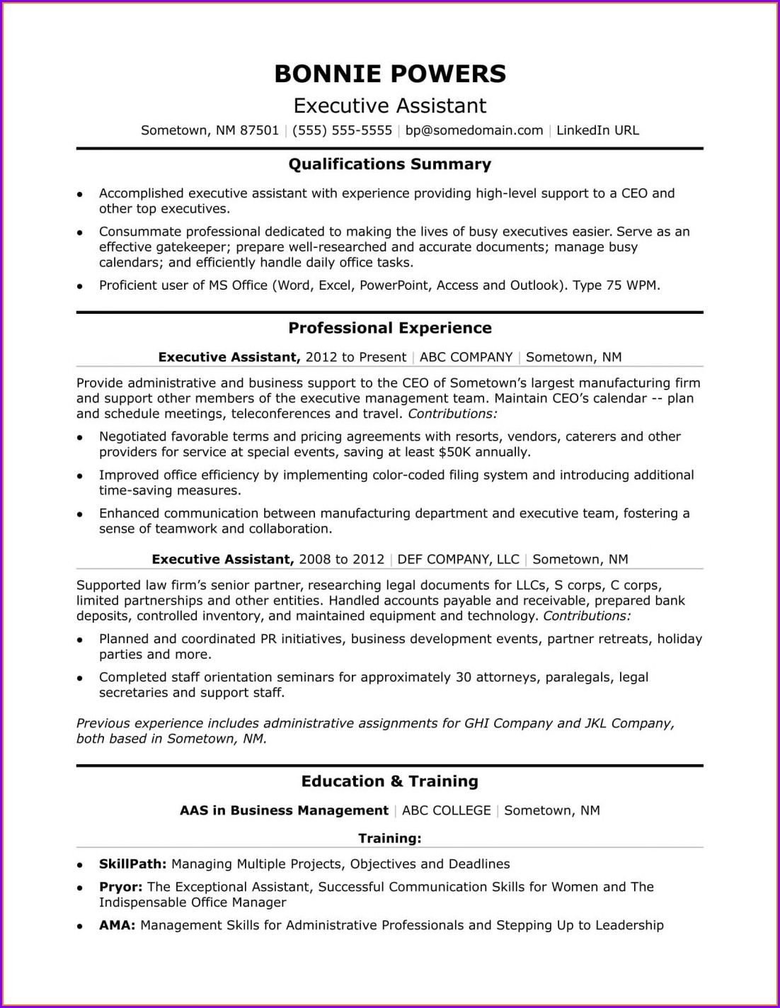 Free Online Resume For Administrative Assistant