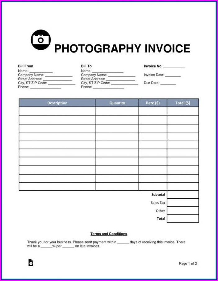 Free Photography Invoice Template Psd
