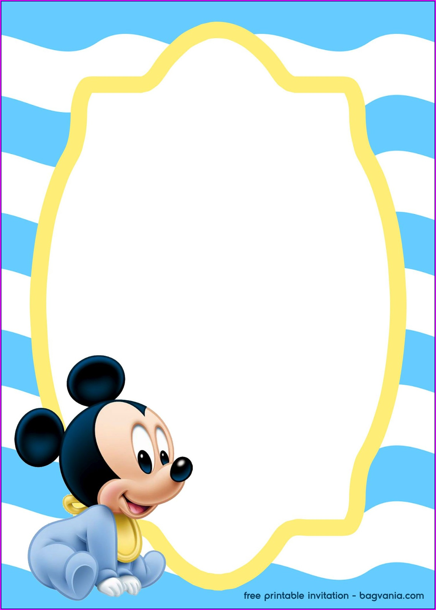 Free Printable Baby Mickey Invitation Template