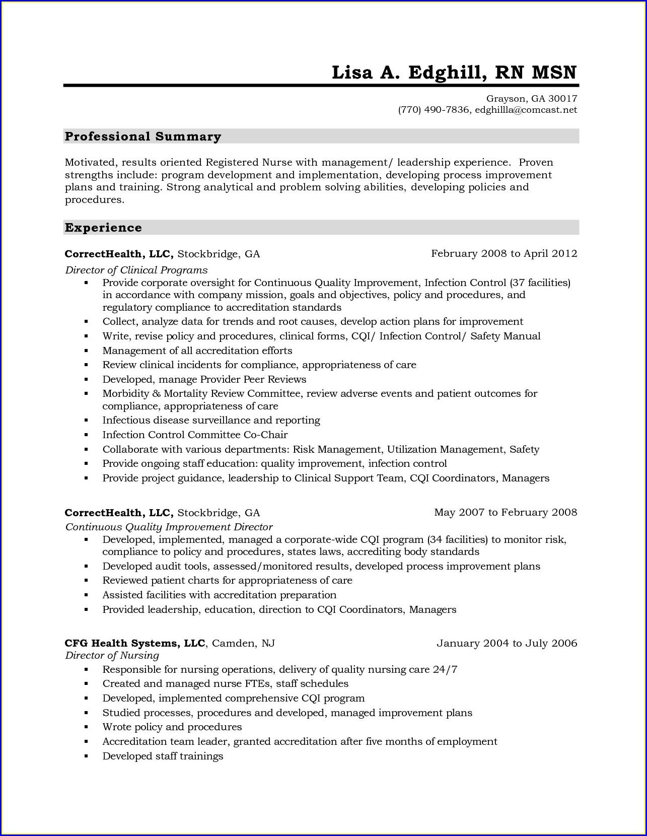 Free Printable Nursing Resume Templates