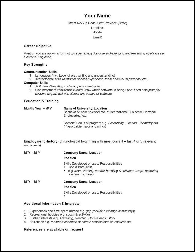 Free Professional Functional Resume Templates