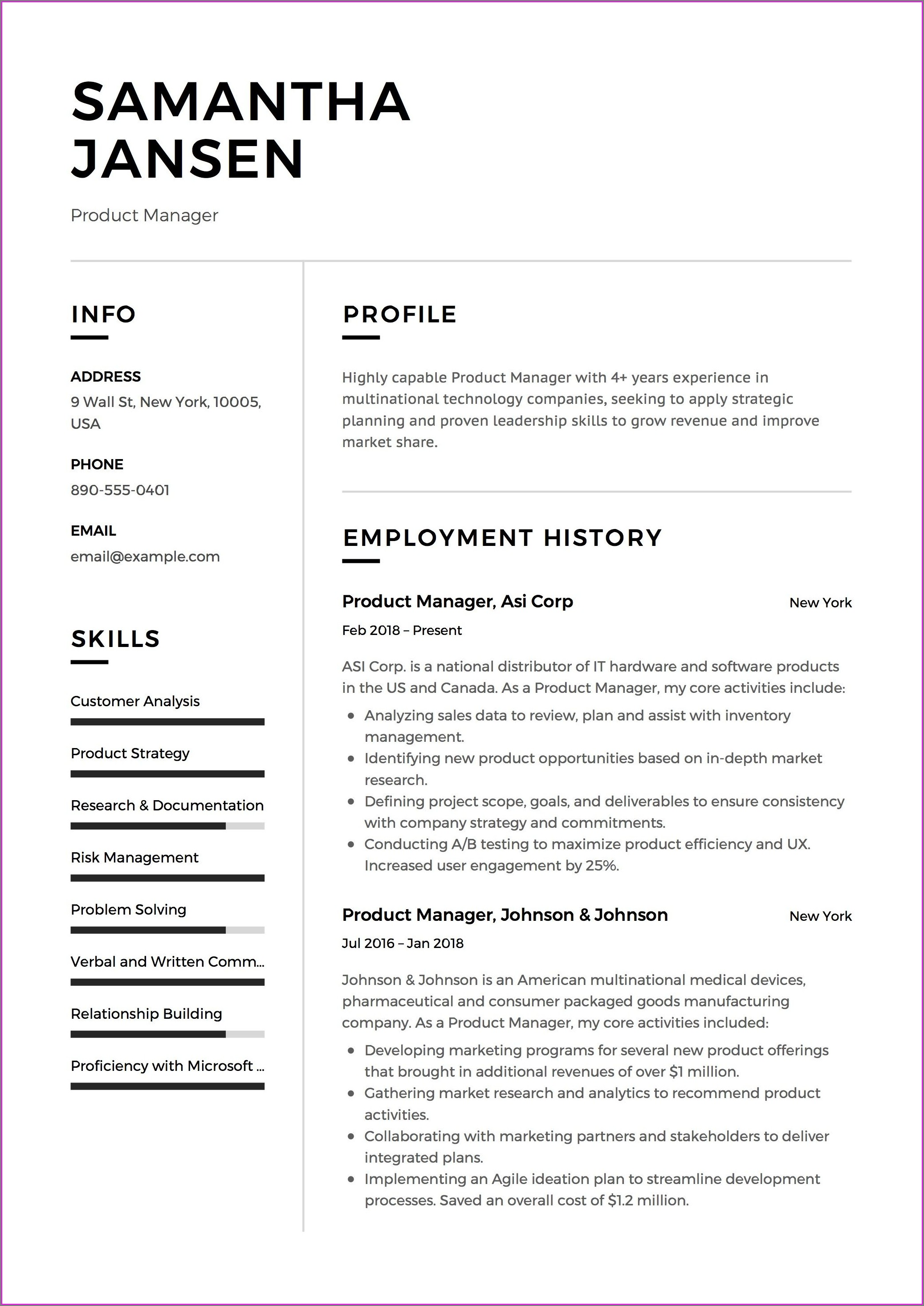 Free Professional Resume Samples Pdf