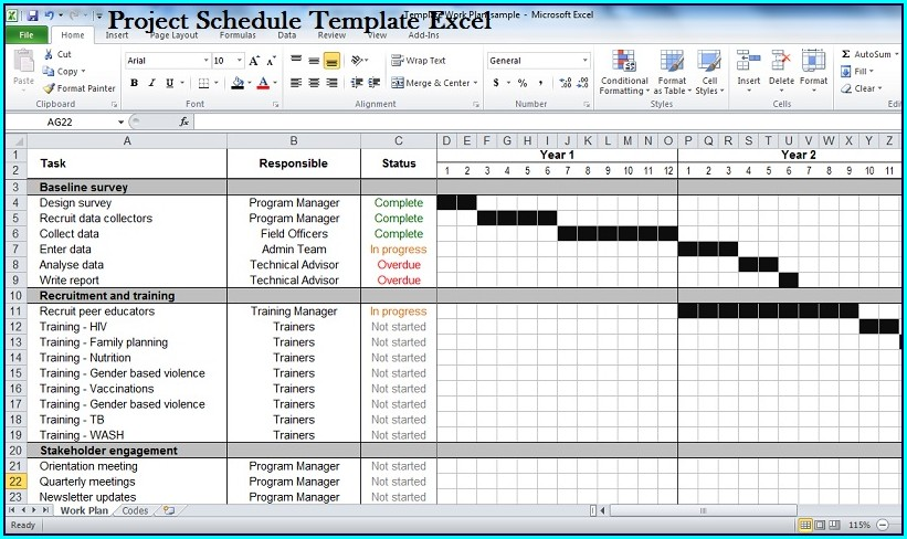 Free Project Schedule Template Excel