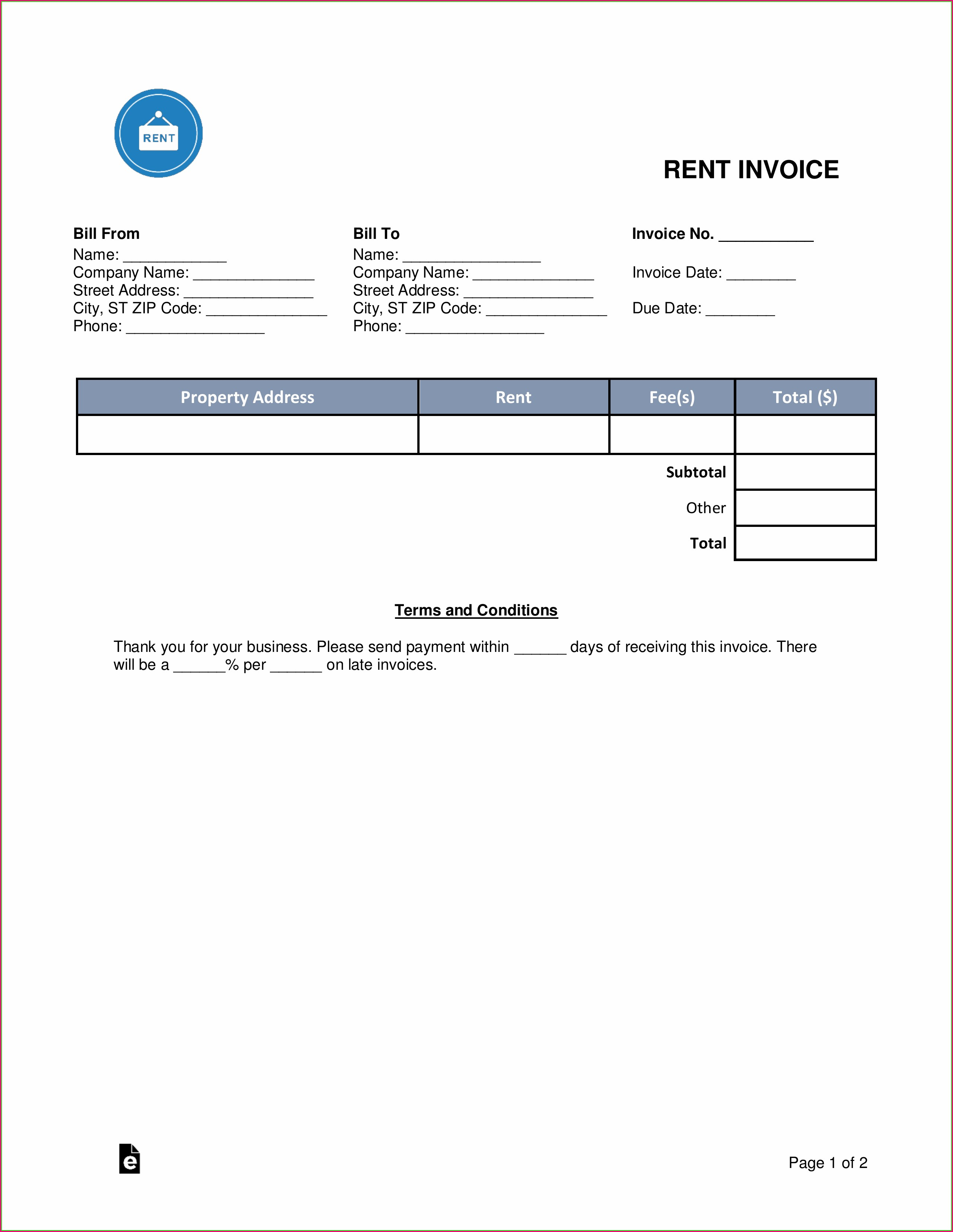 Free Rental Invoice Template Word