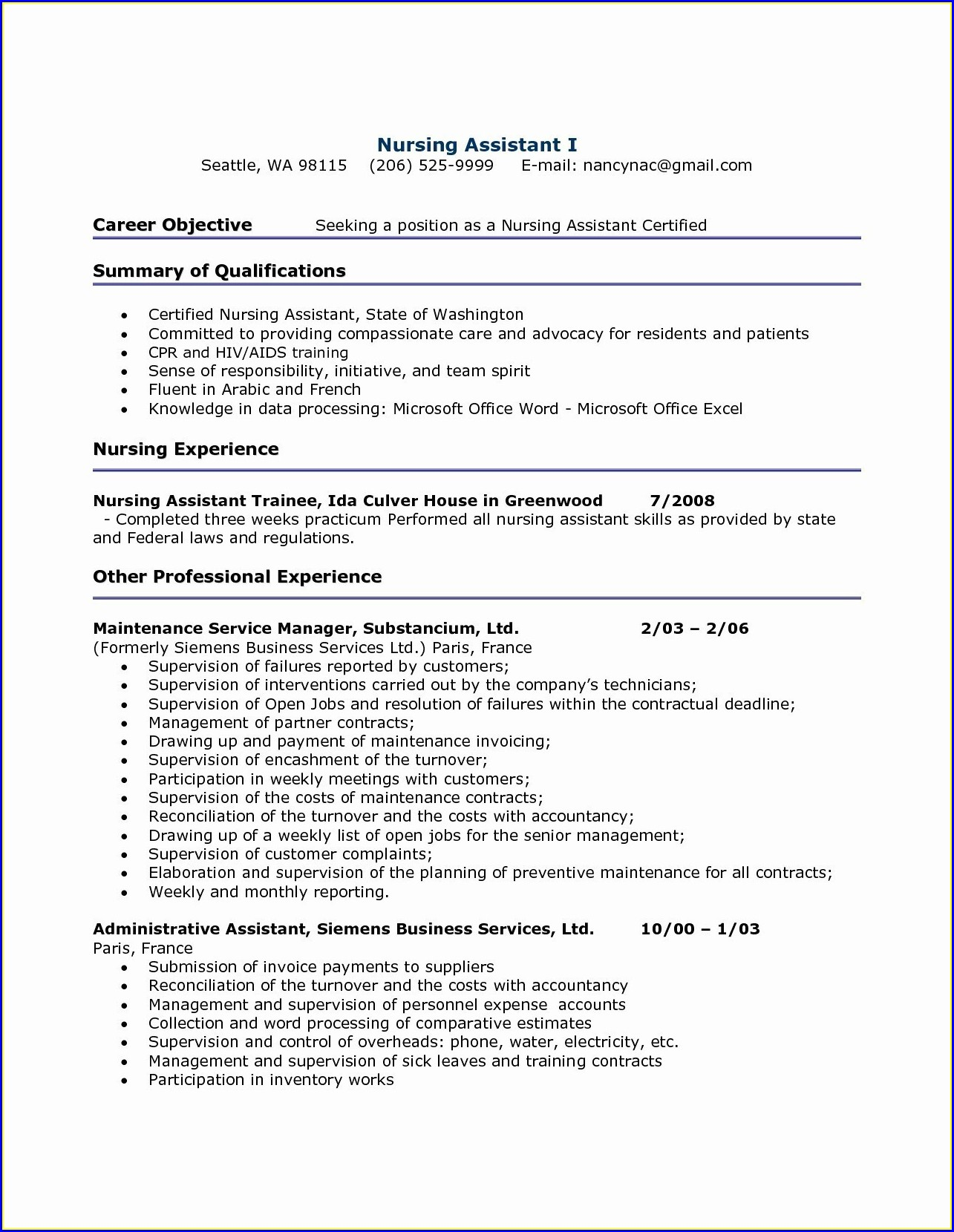 Free Resume Builder For Nursing Assistant