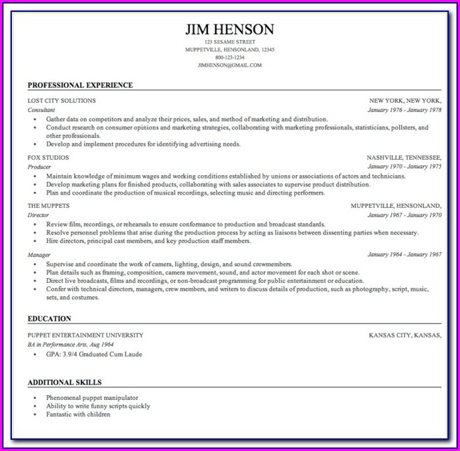 Free Resume Builder Microsoft Word