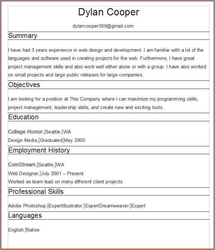Free Resume Builder No Fees