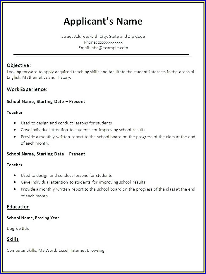Free Resume Examples For Highschool Students