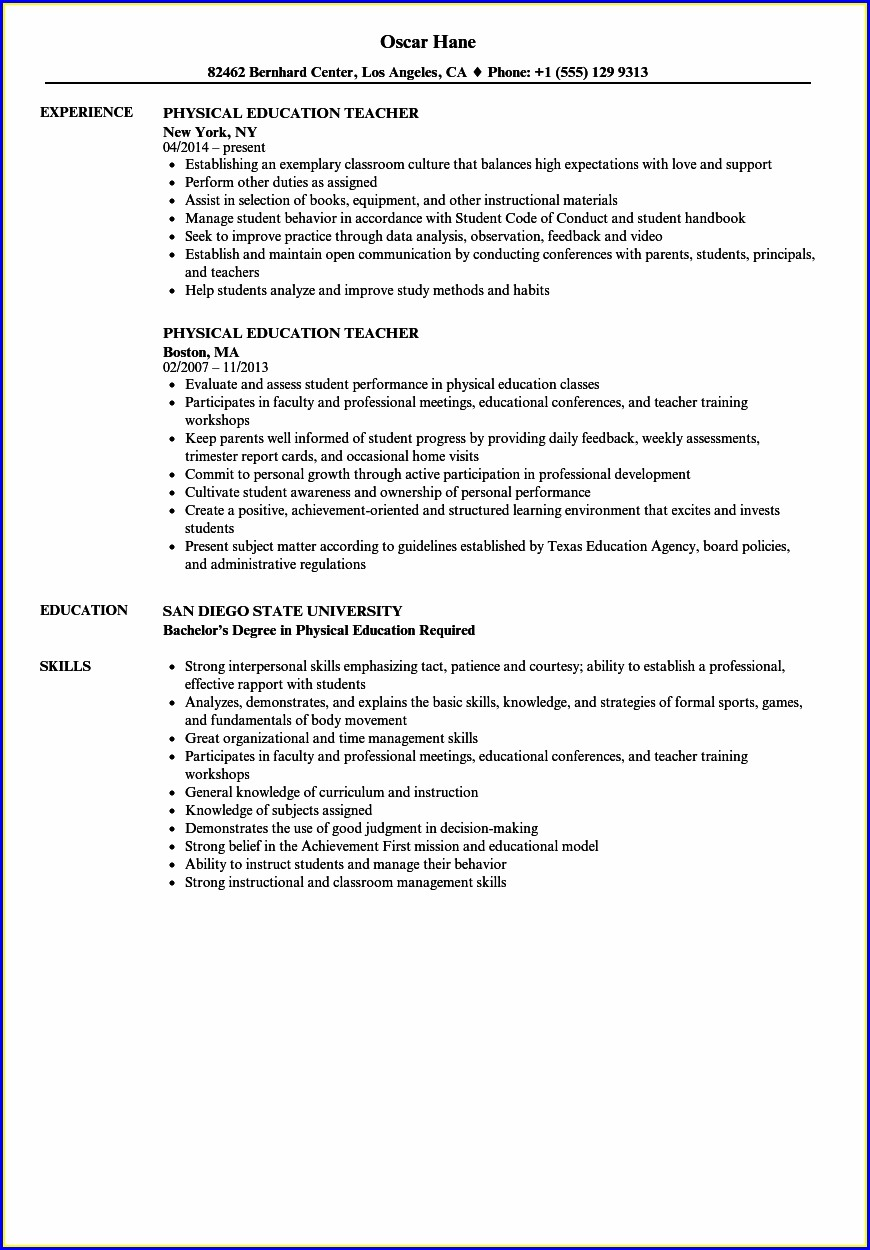 Free Resume Format For Teachers In India