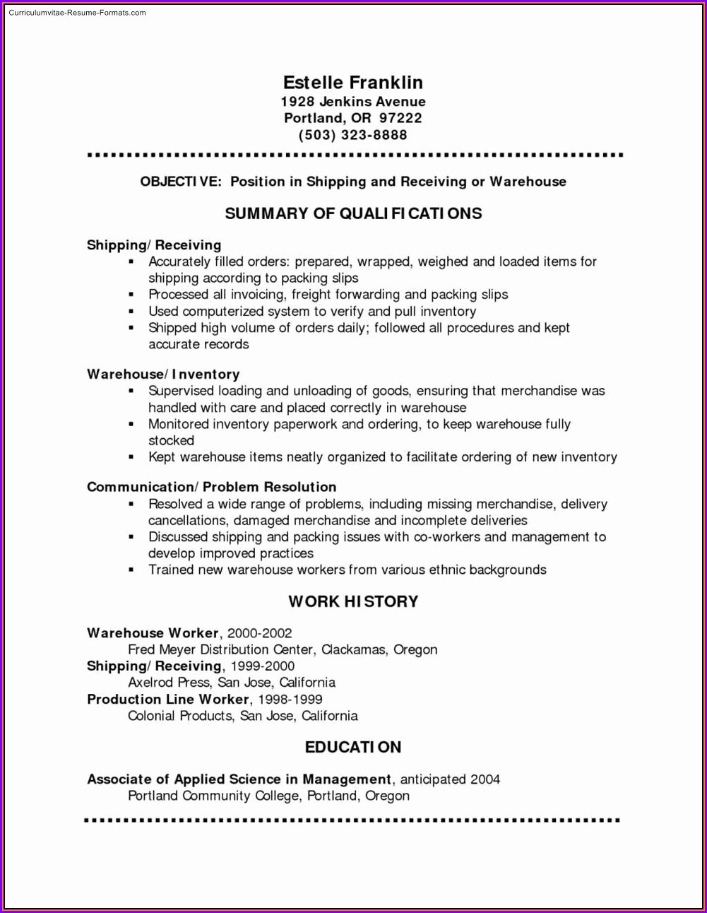 Free Resume Samples Pdf