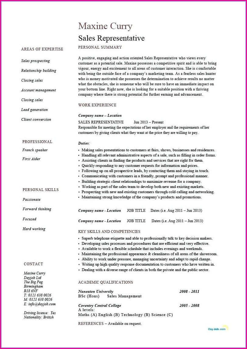 Free Resume Template For Sales Representative