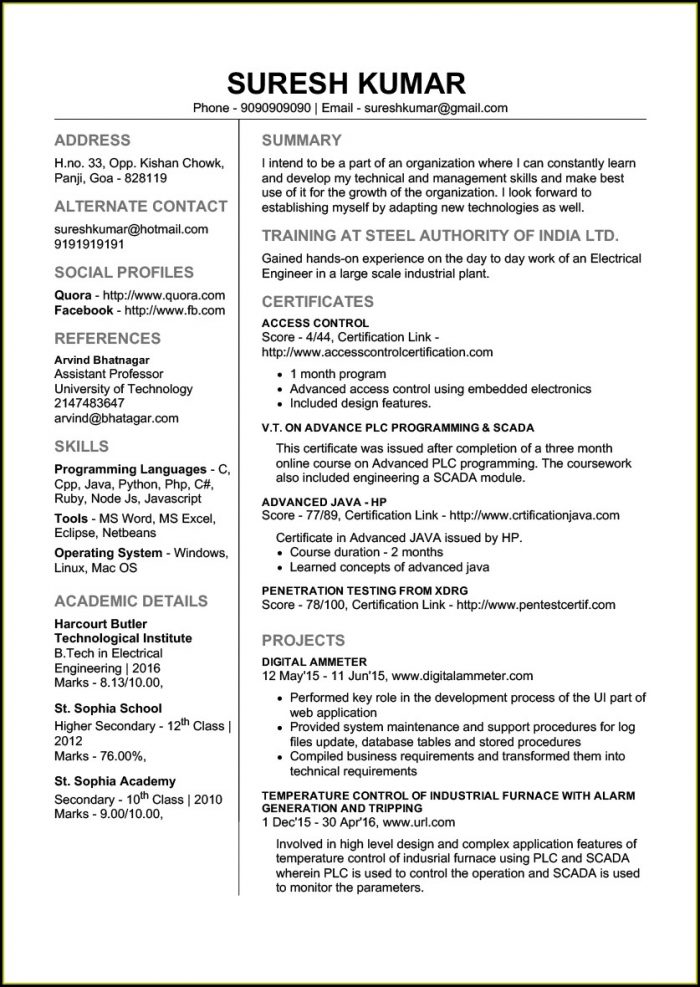Free Resume Templates Download For Freshers