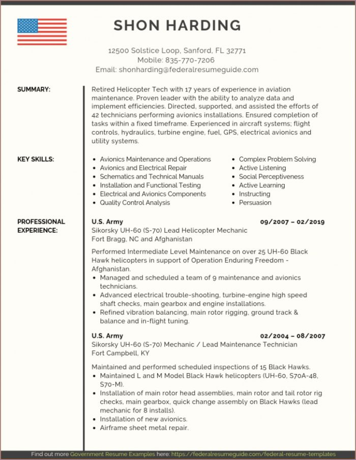 Free Resume Templates For Military To Civilian