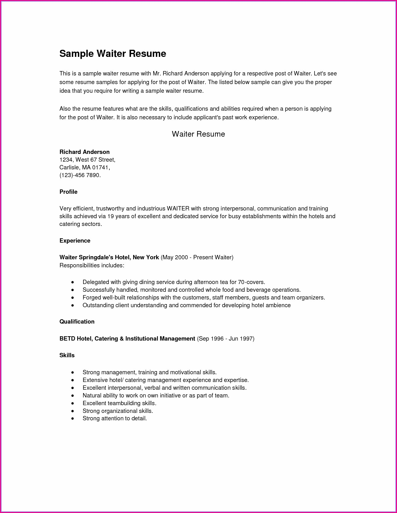 Free Resume Templates For Restaurant Servers