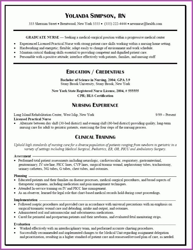 Free Resume Templates For Rn