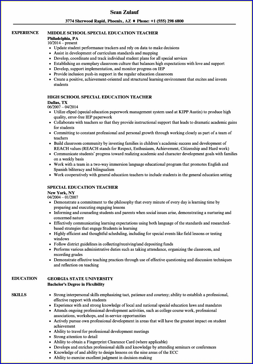 Free Resume Templates For Special Education Teachers