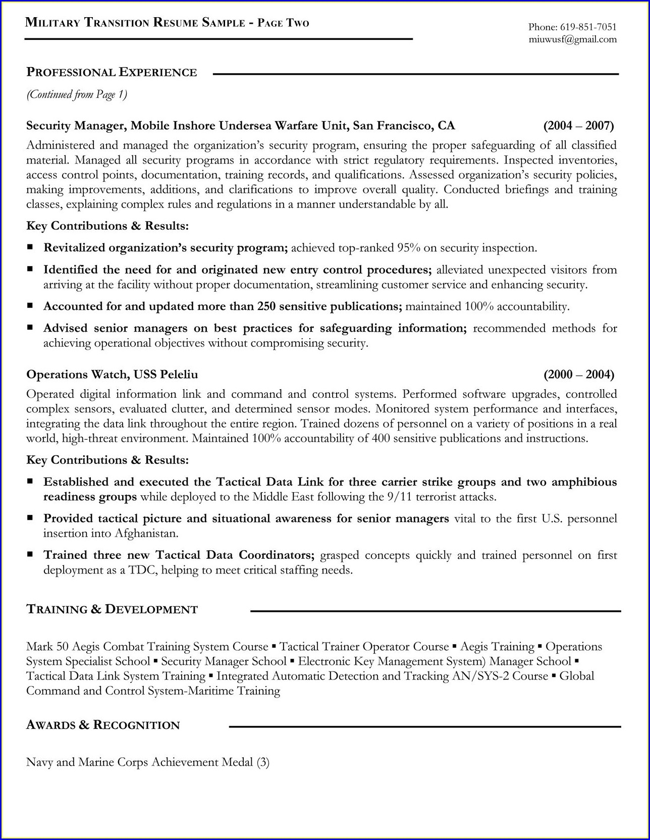 Free Resume Templates For Veterans