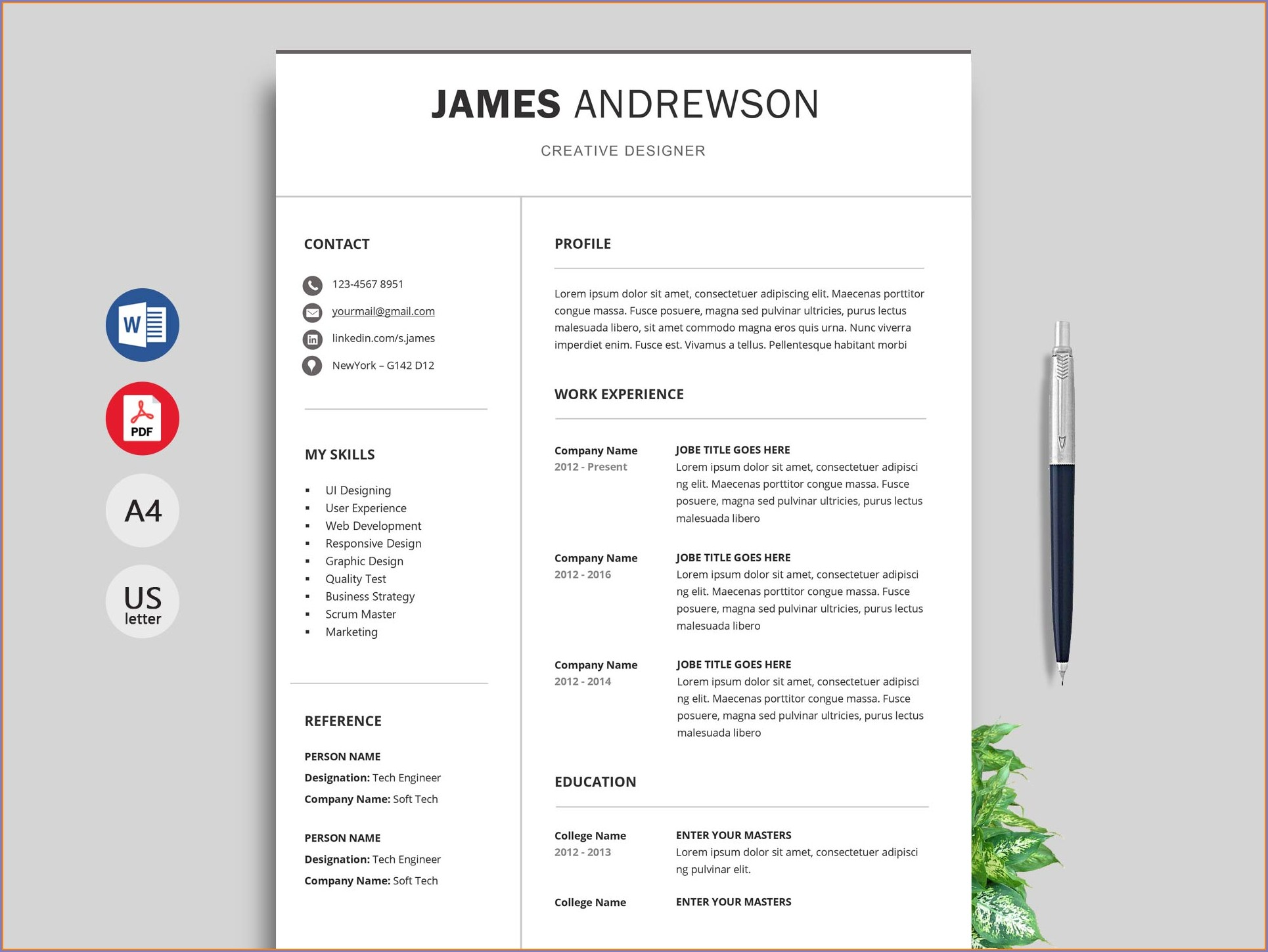 Free Resume Templates Word 2016