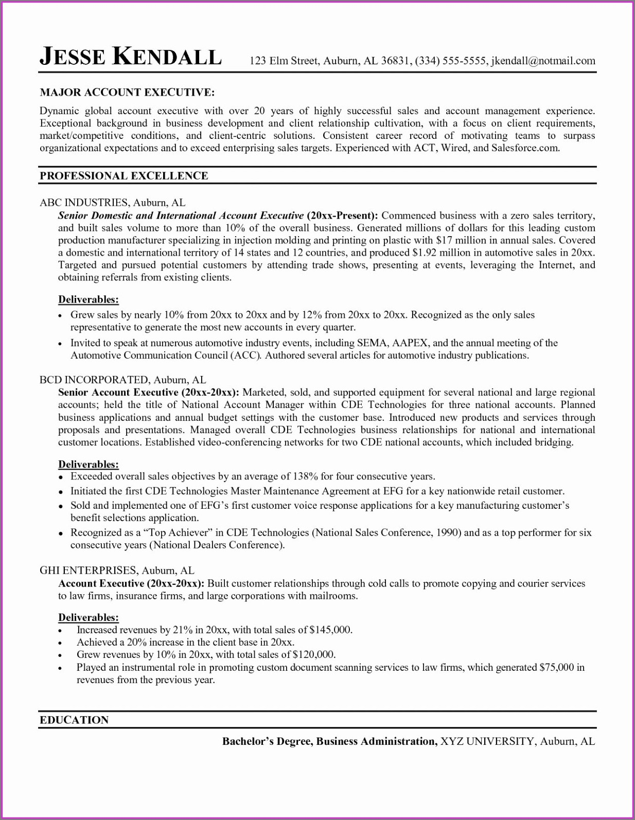 Free Sales Manager Resume Templates