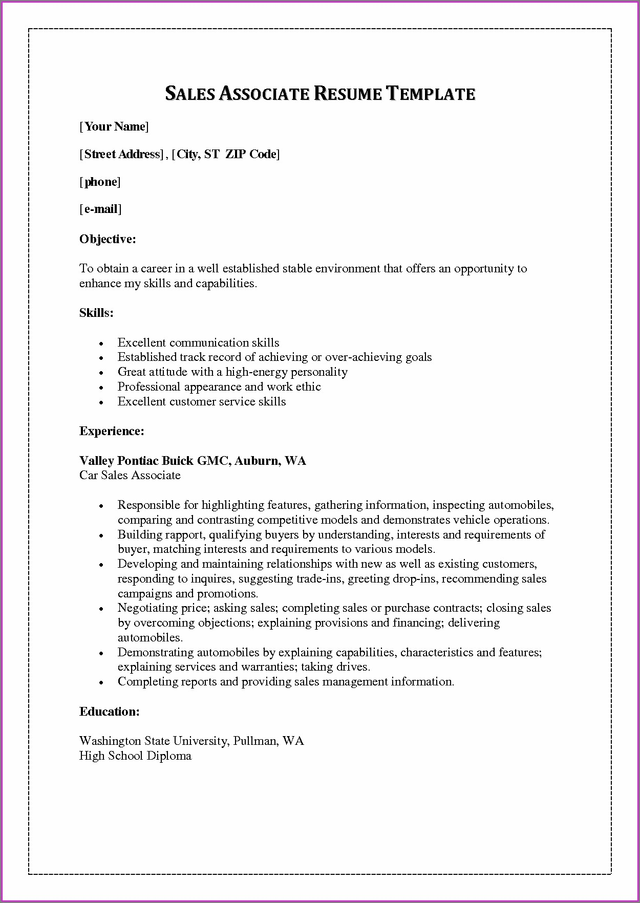 Free Sales Professional Resume Templates