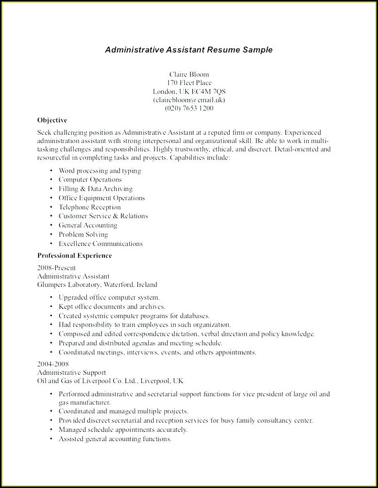 Free Sample Functional Resume For Administrative Assistant