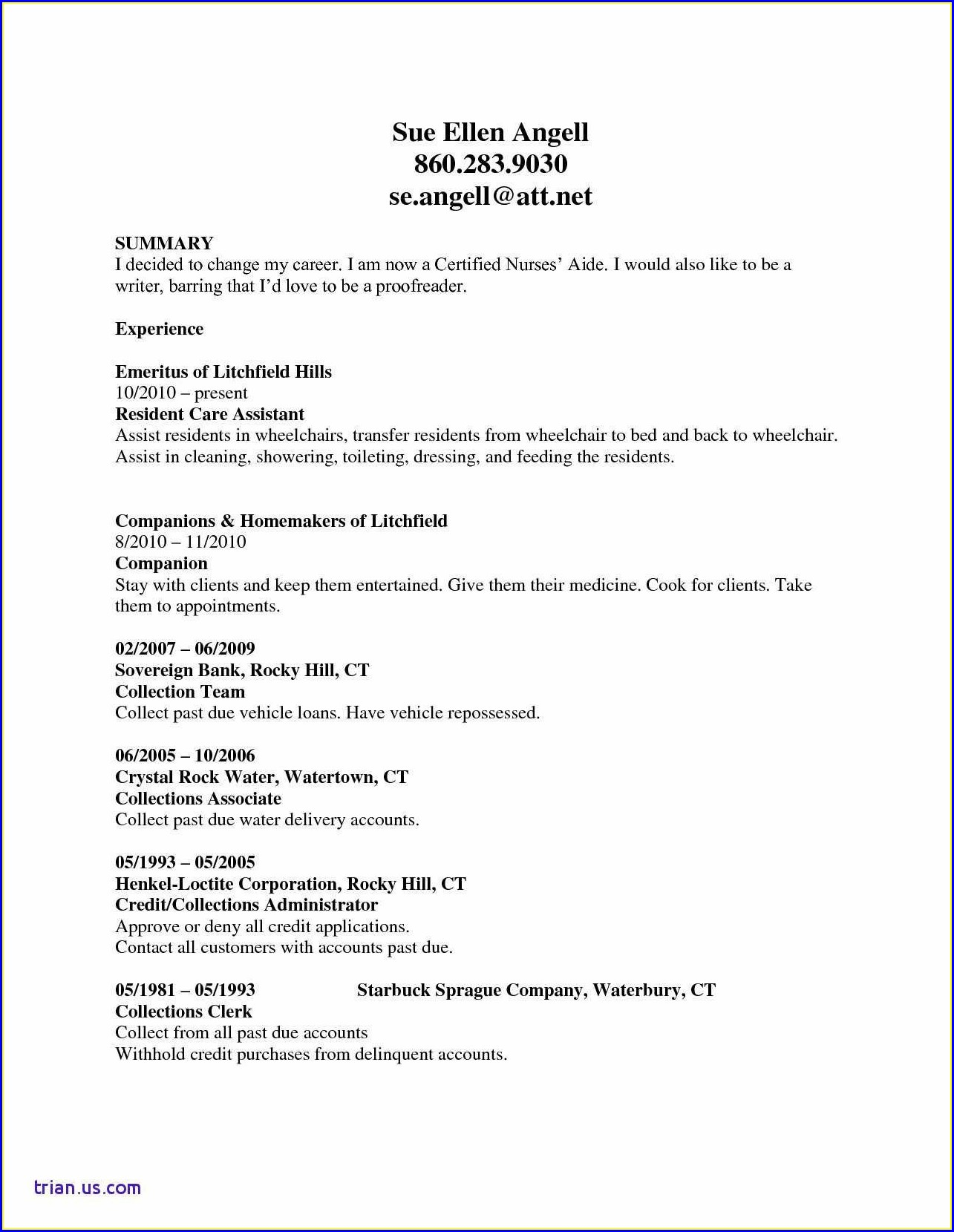 Free Sample Nurse Aide Resume