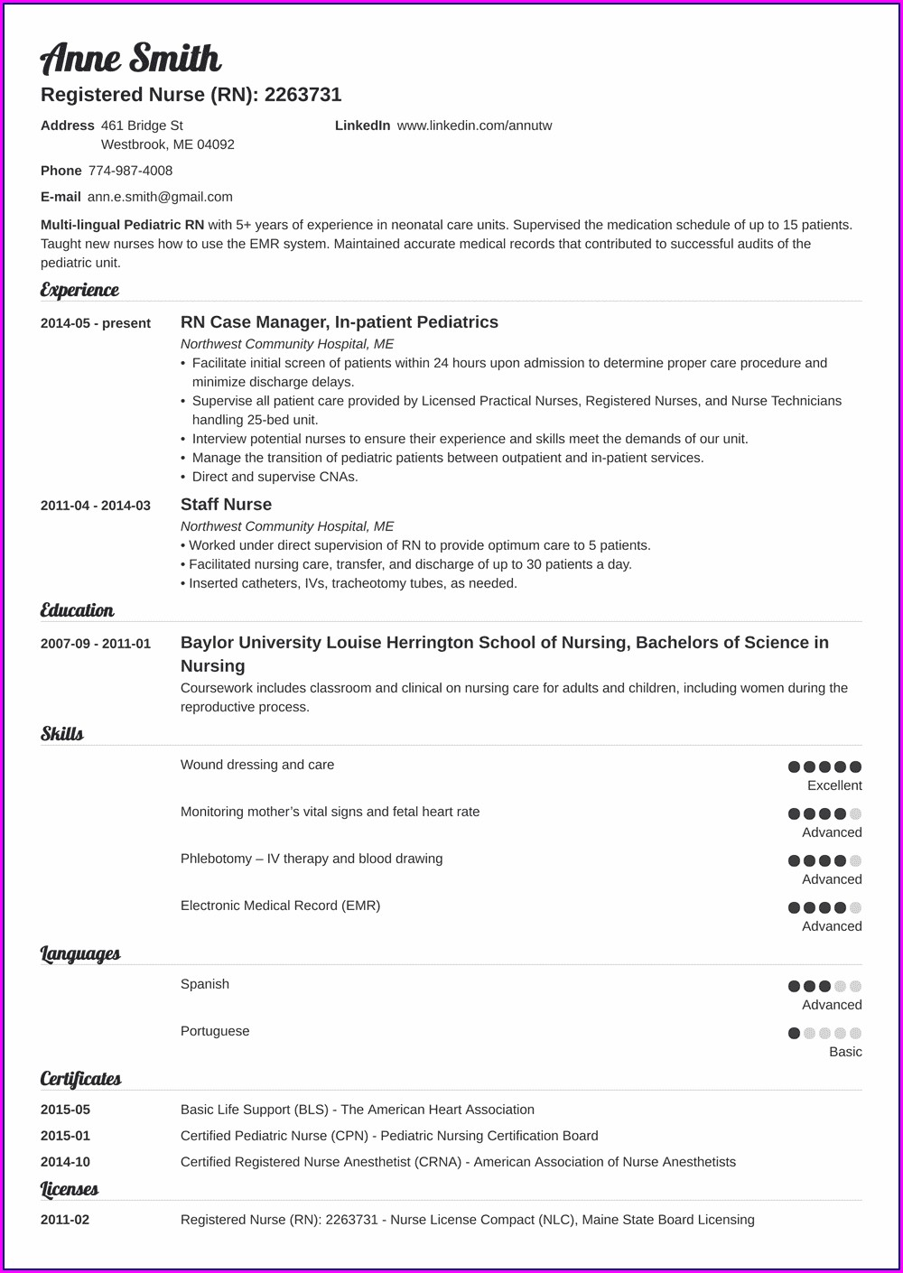 Free Sample Nurse Resume