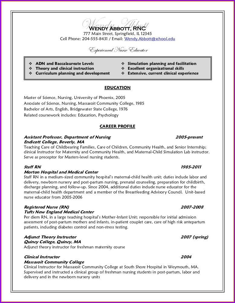 Free Sample Nursing Student Resume